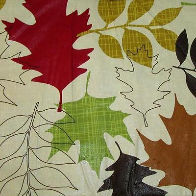 Vinyl Tablecloth Flannel Back Fall Thanksgiving Leaves Bears Plaid Pumpkins NEW