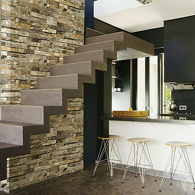 WALLPAPER FEATURE WALL PAPER 10M ROLLS STONE SLATE PEBBLE OUTDOOR NATURE RUSTIC