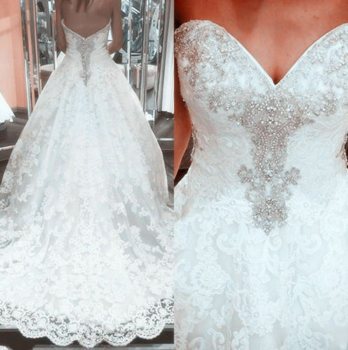 V-Neck Beaded Lace Wedding Dresses Bridal Ball Gown Sweep Train Applique Custom