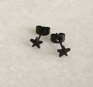 Image Is Loading 316l Surgical Stainless Steel Black Star Ear Studs
