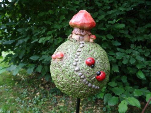 aus Poly Kugel Fantasy Pilz A Metall Gartenstecker Zwergeninsel 80 cm