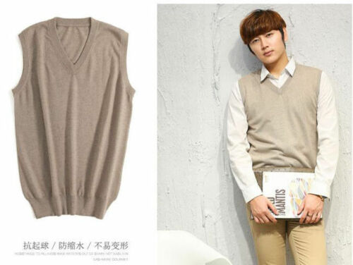 Mens Cashmere Winter Warm Pullover V Neck Knitting Sleeveless Sweaters Vest Tops