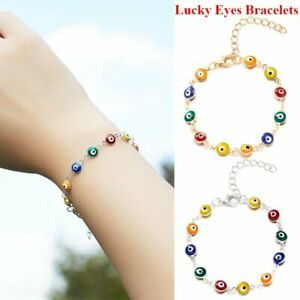 Turkish Evil Eye Colorful Beads Protection Good Luck Bracelet Women Jewelry Gift