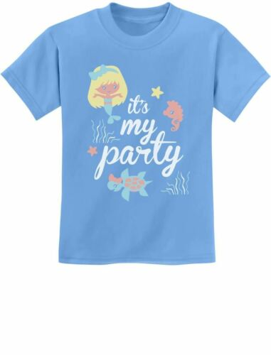 Lil Mermaid Birthday Gift Idea Cute Youth Kids T-Shirt Bday It/'s My Party