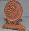 China-Boxwood-wood-Hand-carved-phoenix-bird-Dragon-Loong-statue-Screen-Byobu thumbnail 6
