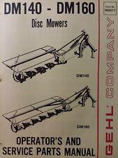Gehl 3 Point Hitch Farm Disc Mower Implement Dm140 Dm160 Owner Amp Parts Manual