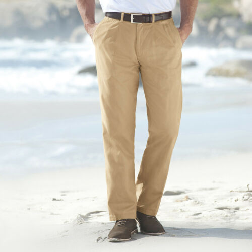 Samuel Windsor Flat Front Chinos Gents Trousers 100% Cotton Twill 30 46 Waist