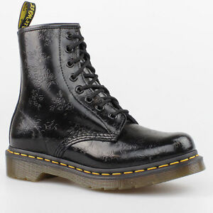 dr doc martens stiefel 8 loch boots 1460 schwarz blumen flower pascal leder ebay. Black Bedroom Furniture Sets. Home Design Ideas