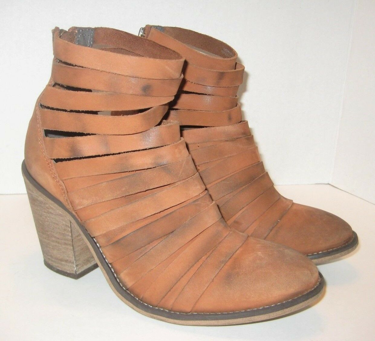 FREE PEOPLE HYBRID STRAPPY LEATHER BOOTIE BOOT TERRACOTTA LEATHER SIZE 8US  38EU