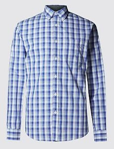 EX-M-amp-S-Marks-And-Spencer-Pure-Cotton-Tonal-Checked-Shirt