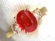$5000 GIA 2.79CT NATURAL VIVID RED ORANGE SAPPHIRE & BROWN DIAMOND RING 18KT