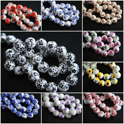 Wholesale 10mm Charms Flower Round Porcelain Beads Spacer Craft Jewelry 26Colors
