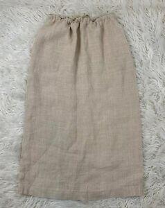 VTG-Ralph-Ralph-Lauren-Blue-Label-Skirt-Drawstring-100-Linen-Beige-Long-Sz-12