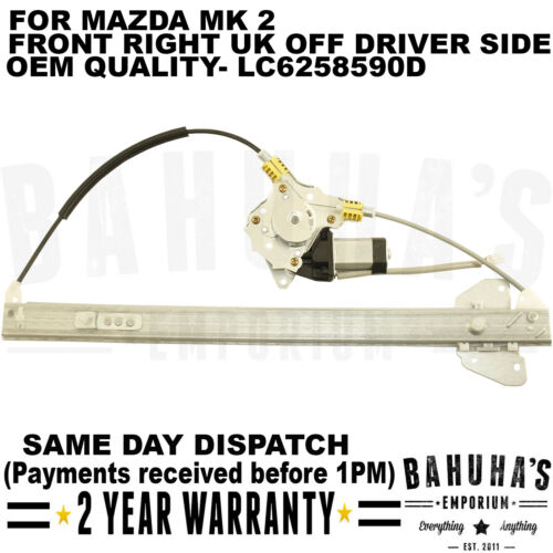 FOR MAZDA MK2 1999-2006 FRONT RIGHT DRIVER SIDE WITH MOTOR WINDOW REGULATOR