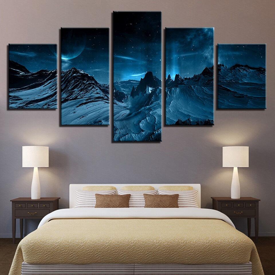 Aurora Borealis Snow Mountain 5 Piece Canvas Print Wall Art