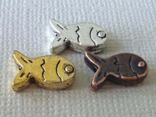 20 FISCH Spacer Perle Metall Zwischenteil 12 mm gold kupfer silber Auswahl 2273