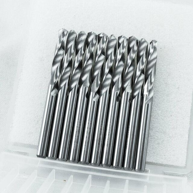 "KLOT 10pcs Solid Carbide Drill Bit 3.175mm 1/8"" 2-Flute Straight Shank K10"