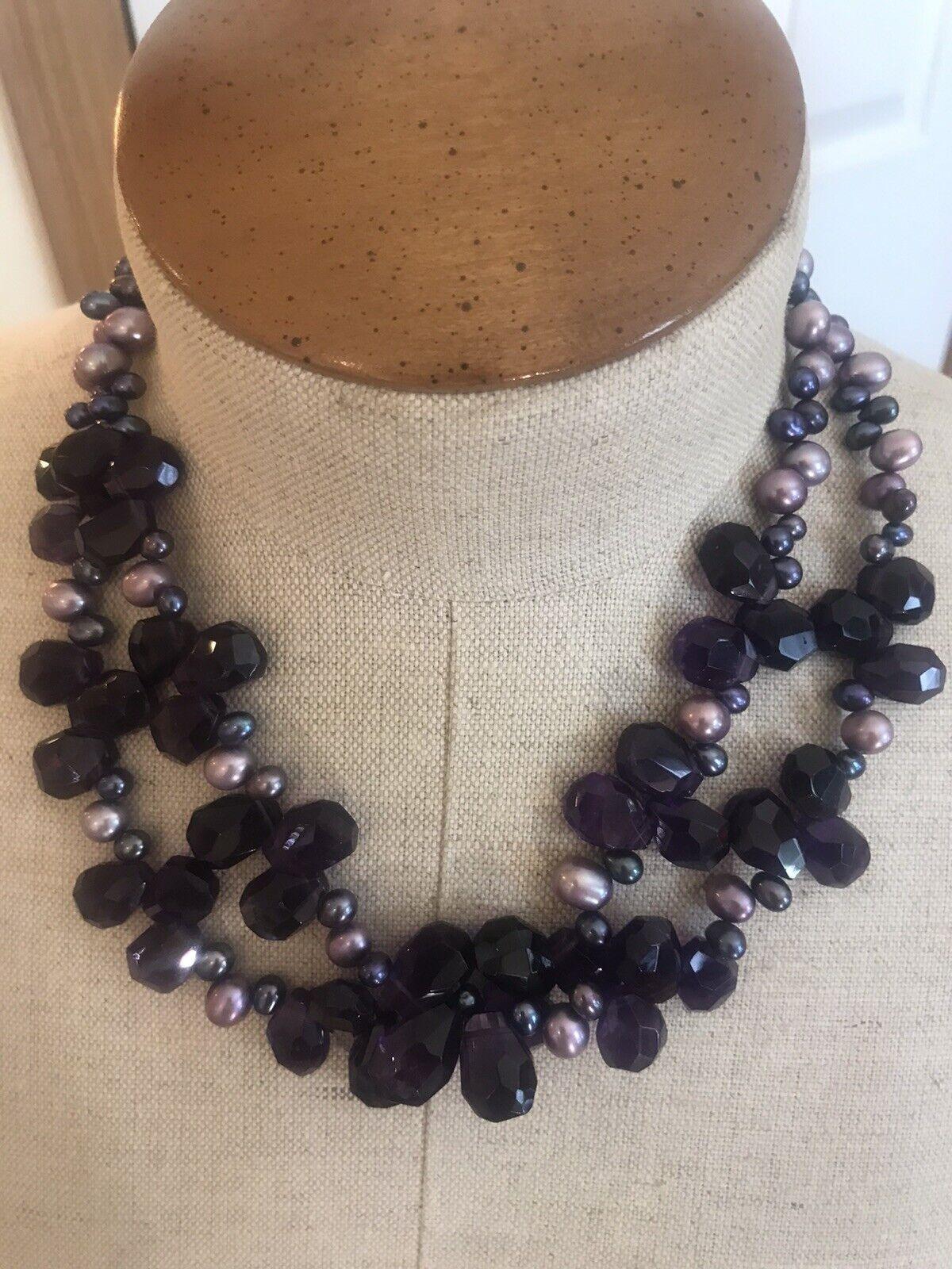 Diana Venezia Pearls Cluster Amethyst Rare Neckla… - image 1