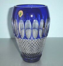 """Waterford COLLEEN Cobalt Blue Crystal Vase 8"""" 60th Anniversary New"""