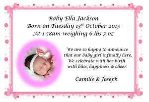 personalised photograph new baby birth announcement thank you cards