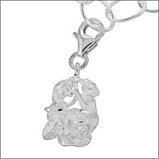 Sterling Silver Blooming Rose Flower European Clip On Pendant Charm #94129
