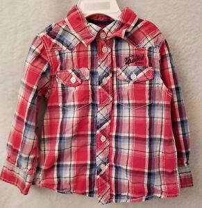 LOGG by H&M Boys Red White Blue Plaid Button Down Shirt Top Size 2 3Y