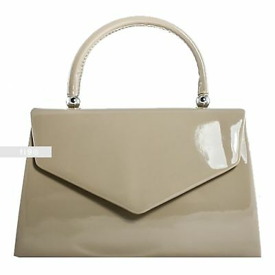 STYLISH EVENING WEAR PROM HANDBAG IN FAUX PATENT LEATHER
