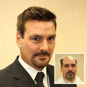 Image is loading Micro-Thin-Skin-Hairpiece-Mens-Hair-Replacement-System- 3653034d0