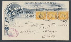 Canada-Sc-35-Strip-of-3-on-1896-Halifax-Summer-Carnival-Cover