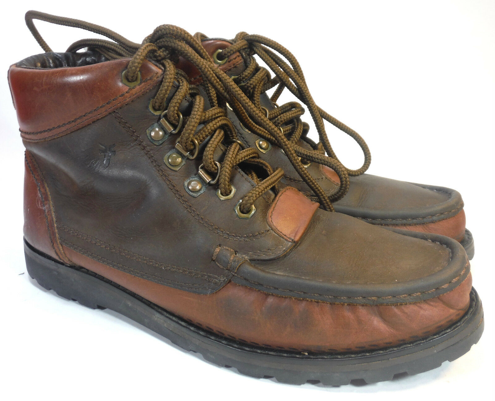 Mens FRYE brown 2 tone oiled leather chukka lug sole ankle boots 9.5  328