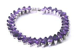 Bracelet Purple Amethyst Genuine Gems Sterling Silver Tennis Design 7 1/4 Inch