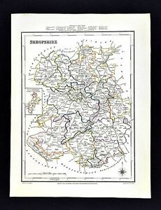 Details about 1831 Lewis Map England - Shropshire - Shrewsbury Wellington  Whitchurch Ludlow