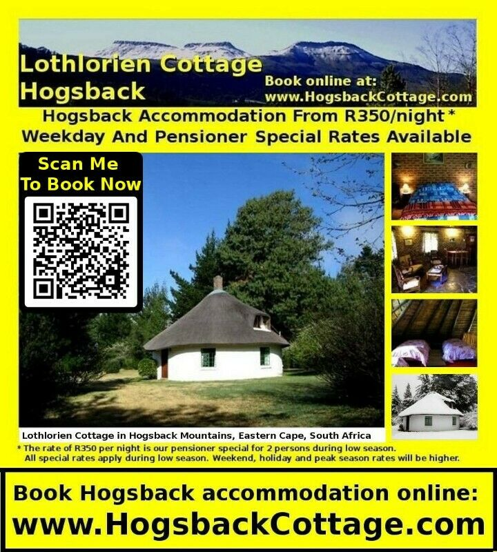 HOGSBACK MOUNTAINS **** SELF CATERING ACCOMMODATION **** Eastern Cape HOLIDAY RENTAL AVAILABLE