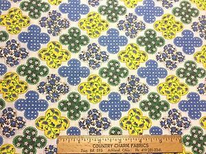 Vintage-Cotton-Fabric-40s-CUTE-Green-Blue-amp-Yellow-Floral-35w-1yd