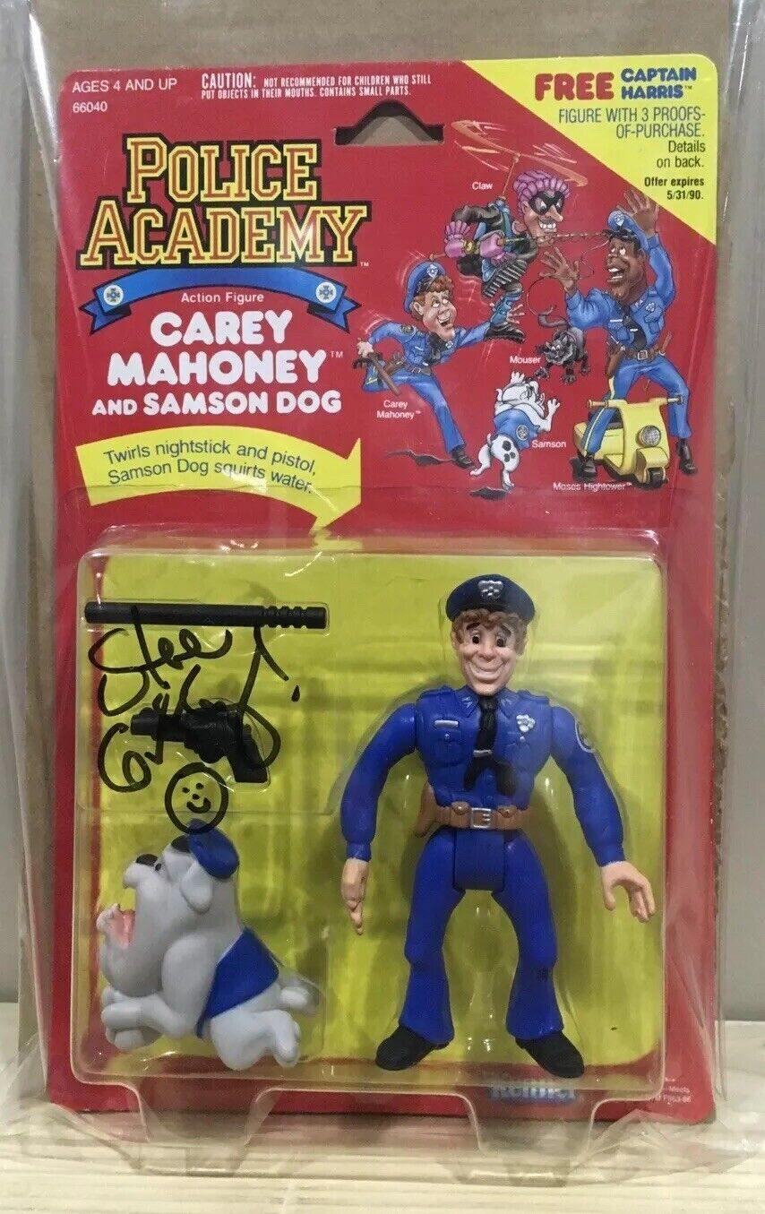 Vintage Kenner 1988 Police Academy CAREY MAHONEY Figure Signed Cargraphed MOSC