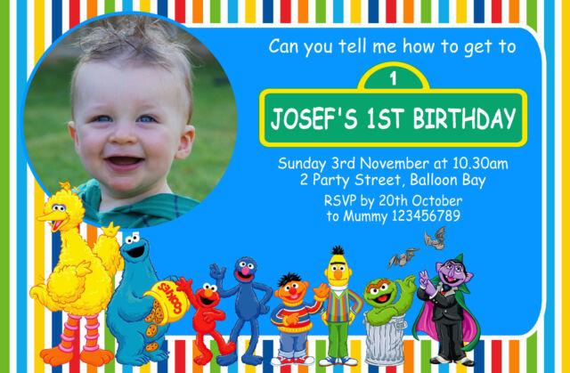 Personalised Elmo Sesame St Cookie Monster Birthday Invitations Street invite