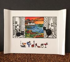 "Guritno Australia Ceramic Painted Black Cats SYDNEY Scene Tray Trivet 10+""x8"""