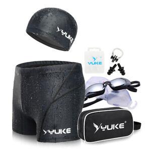 Black-1-SET-Swim-Goggles-Swimming-Cap-Trunks-Nose-Clip-Ear-Plug-With-Hand-Bag