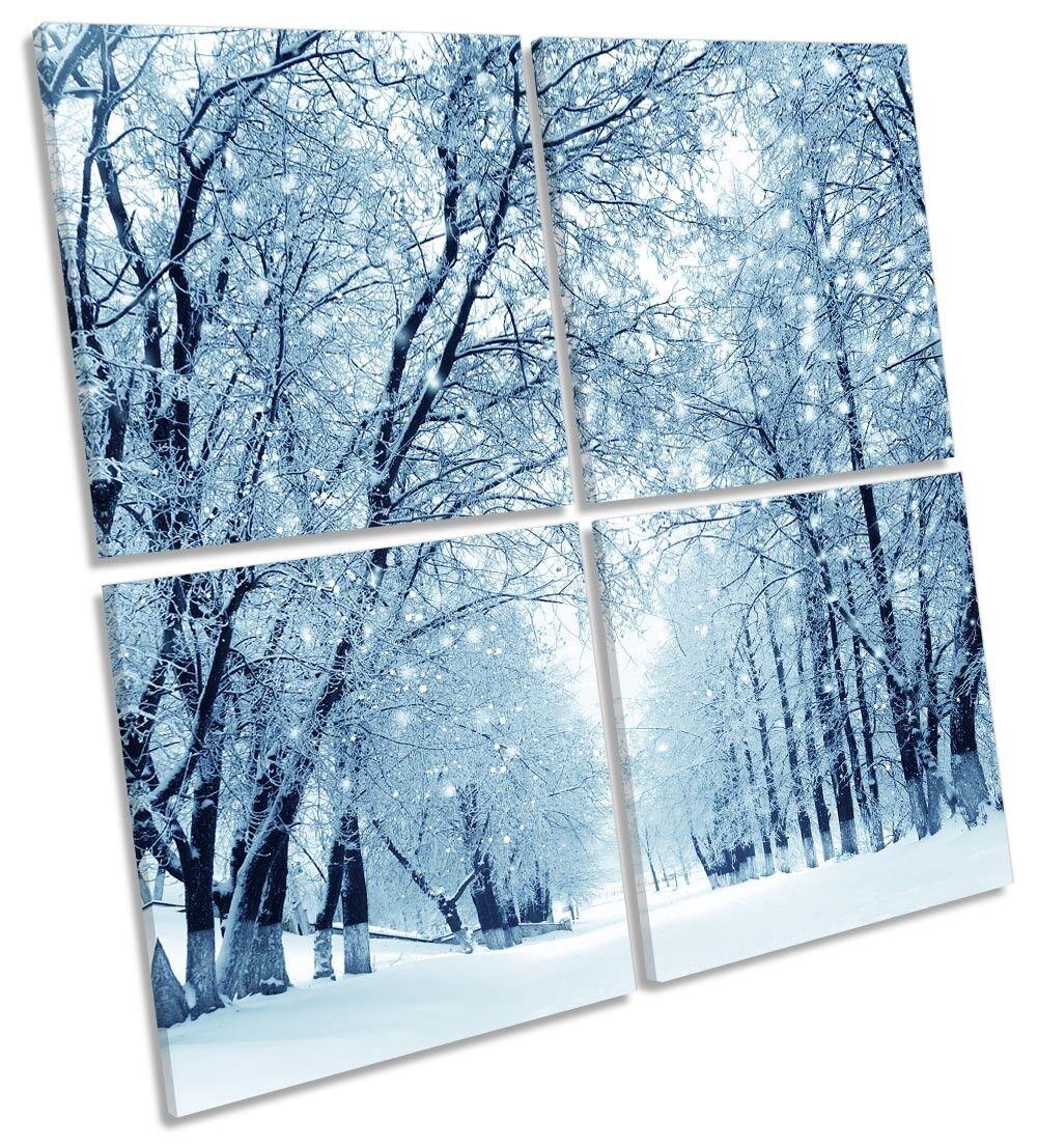 Winter Forest Blau Landscape Picture MULTI CANVAS WALL ART Square Square Square 39eb93