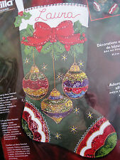"Christmas Bucilla Felt Applique Holiday Stocking Kit,JEWELED ORNAMENTS,18"",84949"