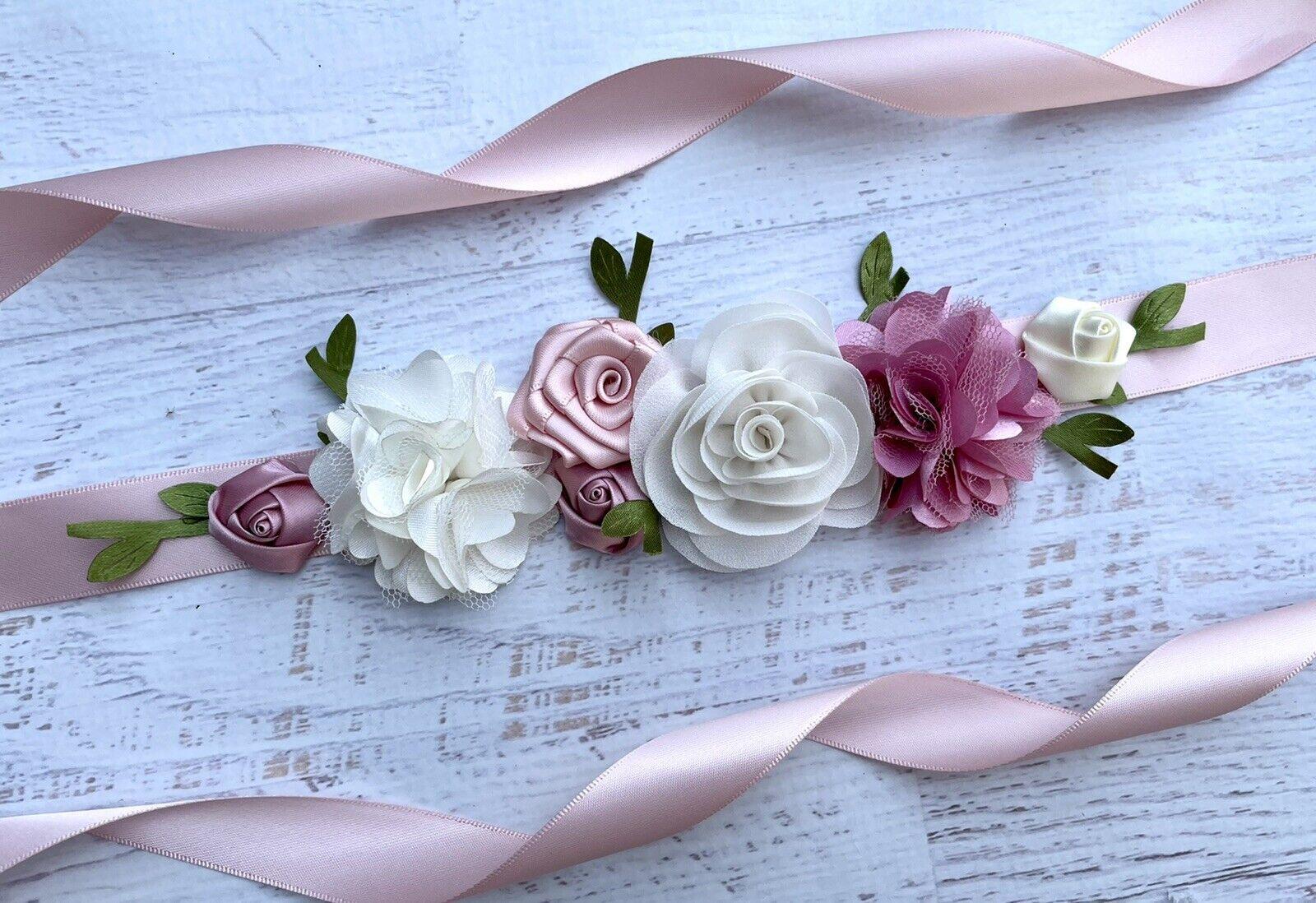 Blush Pink,Cream,Dusty Pink Flower Girl Sash Belt , Toddler Floral Sash Belt