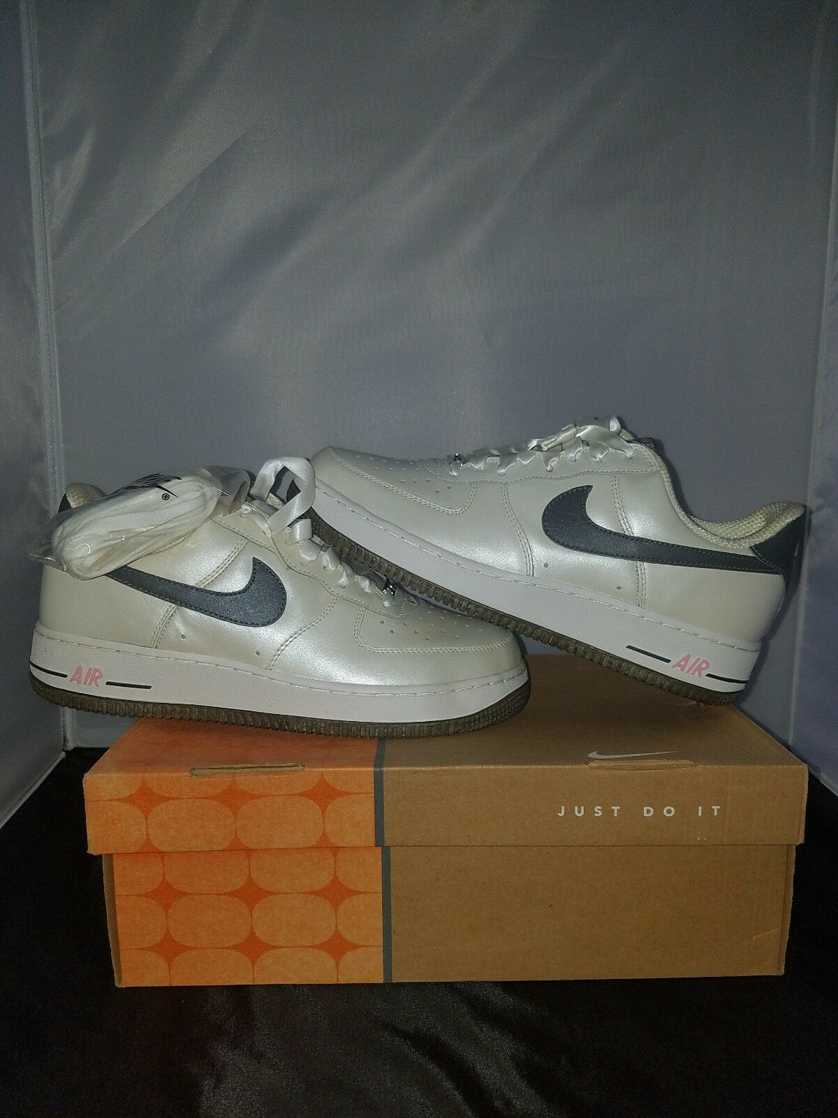 06 Nike Air Force 1 QUINCEANERA PEARL WHITE PEWTER GREY PINK womens Price reduction best-selling model of the brand