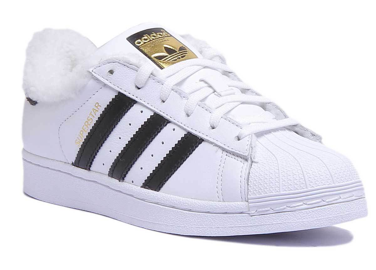 Superstar Fleece Women Leather White Black Lace Up Trainers UK Size 3 - 8