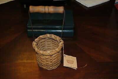 Small Handwoven Jelly Jar Basket Basketry By Sandy With Wooden Handle Ebay