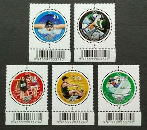 1996-New-Zealand-Sports-Atlanta-Olympic-Games-5v-Stamps-Mint-NH-barcode-tabs