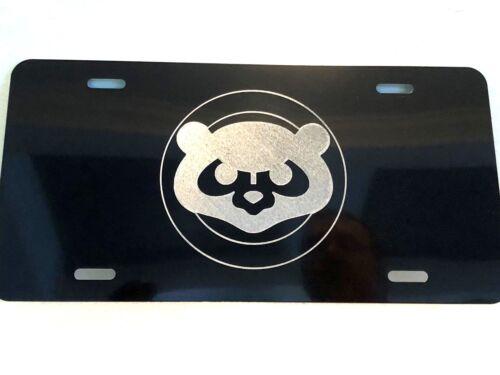 CHICAGO CUBS Alt Logo Car Tag Diamond Etched on Black Aluminum License Plate