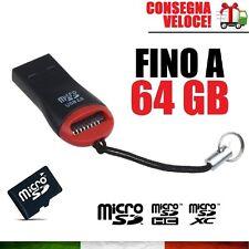 PENDRIVE USB 2.0 CHIAVETTA PER MICRO SD FINO A 64 GB MEMORIA PENNA FLASH
