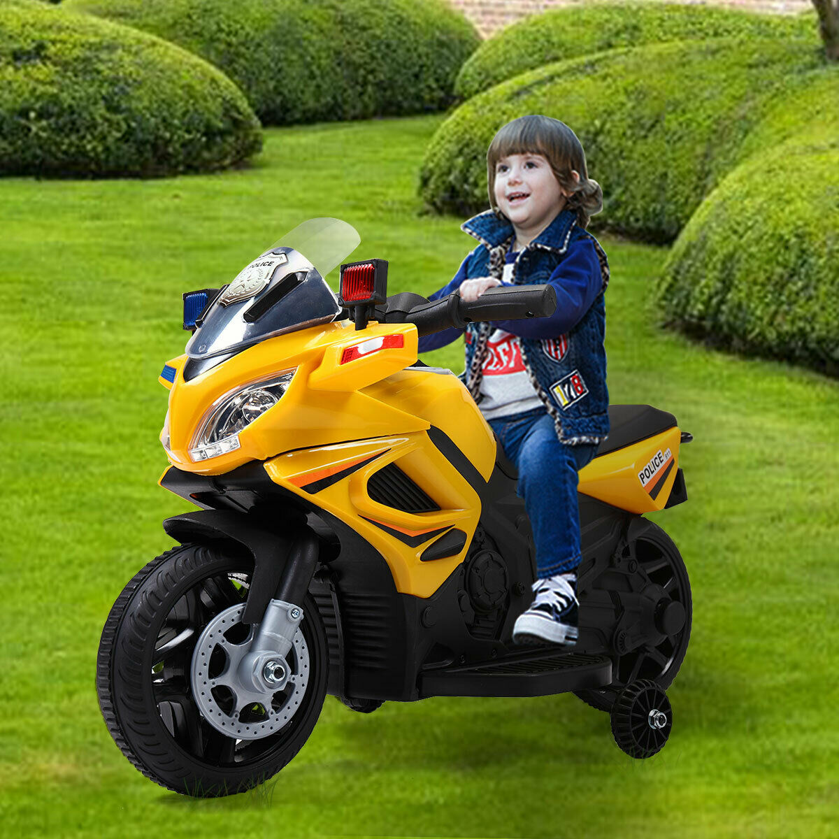 Yellow 12V Kids Motorcycle Powered Electric Ride On Toy Car w  2 Training Wheels