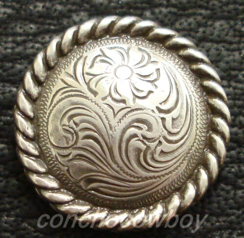 "WESTERN SADDLE TACK HEADSTALL SADDLE 1/"" ANTIQUE ROPE EDGE CONCHOS  screw back"