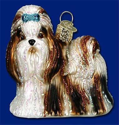 OLD WORLD CHRISTMAS SHIH TZU DOG GLASS CHRISTMAS ORNAMENT 12172